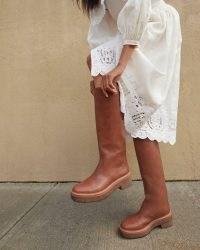 LOEFFLER RANDALL Collins Safari Tall Boot ~ womens brown leather round toe boots ~ women's autumn footwear