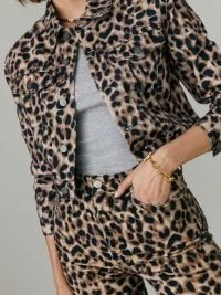 REFORMATION Cora Shrunken Denim Jacket in Leopard / casual glamour / glamorous wild animal print jackets