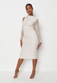 MISSGUIDED cream cold shoulder ruched mesh midi dress – semi sheer long sleeve bodycon dresses