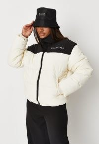 MISSGUIDED cream missguided colourblock puffer coat – womens colour block padded jackets – high neck zip up front closure
