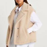 RIVER ISLAND Cream short shearling gilet / womens oversized textured borg gilets / women's faux fur sleeveless jackets