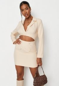 MISSGUIDED cream tailored cut out blazer dress – on-trend cutout dresses