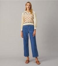 TORY BURCH CROPPED DENIM PANT RINSE WASH ~ womens designer crop hem jeans ~ effortless casual style