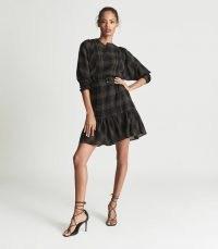 REISS DAISY CHECKED MINI DRESS BLACK ~ check print flippy tiered hem dresses