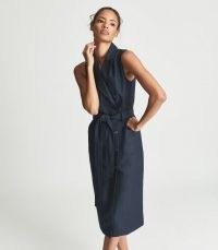 REISS DANA LINEN BLEND MIDI DRESS NAVY ~ chic dark blue sleeveless double breasted dresses ~ tie waist fashion