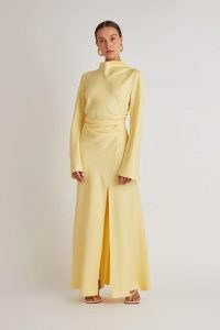CAMILLA AND MARC Damascus Dress in Lemon ~ women's beautiful, contemporary evening attire ~ chic pale yellow occasion maxi dresses ~ womens effortless style event wear