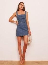 REFORMATION Davies Bustier Denim Mini Dress in Laguna ~ sleeveless square neck blue denim dresses