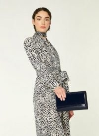 L.K. BENNETT DAYANA NAVY PATENT LEATHER CLUTCH ~ dark blue chain strap occasion bags ~ classic style wedding guest accessories