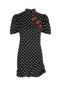 DE LA VALI Bluebell polka-dot satin mini dress | oriental inspired LBD