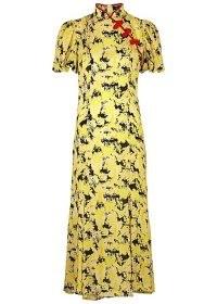 DE LA VALI Bluebell printed satin midi dress | yellow mandarin collar flared hem dresses | oriental look fashion | pankou button detail | vintage inspired cheongsam