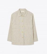 Tory Burch DENIM BARN JACKET – womens striped shirt style jackets