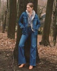 NILI LOTAN DENIM WREN JACKET Deep Blue Wash   utility style outerwear   womens military inspired jackets