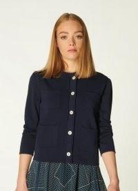 L.K. BENNETT DENISE NAVY SCALLOP EDGE CARDIGAN ~ dark blue pocket detail button up cardigans ~ boxy cardi