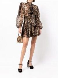 Dolce & Gabbana leopard-print wide-shoulder dress / glamorous animal print dresses / womens designer fashion / high octane glamour