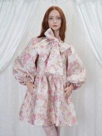 sister jane Fondness Bow Mini Dress in Cream and Primrose Pink – romantic voluminous metallic floral dresses – romance inspired fashion