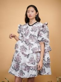 sister jane DREAM THE IVY TRAIL DREAM Celandine Jacquard Oversized Mini Dress in Ivory and Pink – romantic tiered voluminous dresses – floral print fashion with volume