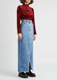 DRIES VAN NOTEN Silvana blue marbled denim maxi skirt