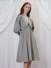 sister jane GRANDMA'S HOUSE Handkerchief Check Midi Dress in Iceberg Green – checked vintage style dresses – oversized collar fashion – large ruffled collars