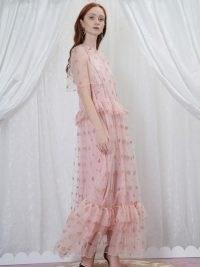 sister jane GRANDMA'S HOUSE Souvenir Hearts Midi Dress in Veiled Rose – romantic pink semi sheer dresses – romance inspired fashion – glitter heart embellishments