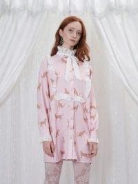 sister jane GRANDMA'S HOUSE Fritz Ruffle Mini Dress in Primrose Pink – ruffled high neck dresses – cat print fashion – vintage style clothing