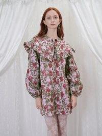 sister jane GRANDMA'S HOUSE Wallpaper Jacquard Mini Dress in Primrose Pink and Fushia- vintage style floral dresses – ruffled oversized collars – large ruffle collar fashion