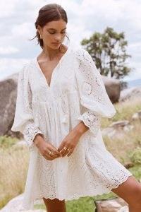 SPELL DYLAN SMOCK DRESS White – romantic flowing lace style boho dresses – feminine bohemian fashion – gorgeous organic cotton clothing