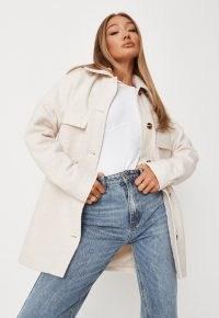 MISSGUIDED ecru textured oversized shacket – fashionable shackets – womens overshirts – women's on trend weekend jackets