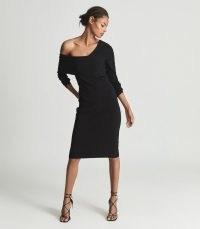 REISS ELLA ASYMMETRIC BODYCON DRESS BLACK ~ chic off the shoulder LBD ~ asymmetric neckline evening dresses