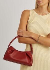 ELLEME Dimple red leather top handle bag / lady-like vintage style handbags / retro grab bags