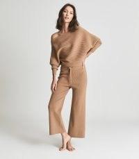 REISS ELORA RIBBED WIDE LEG LOUNGEWEAR JOGGERS CAMEL / women's light brown cropped jogging bottoms / womens chic lounge pants