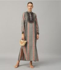 TORY BURCH EMBROIDERED CAFTAN in Washed Multi Stripe ~ chic striped kaftans