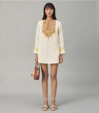 Tory Burch EMBROIDERED LINEN TUNIC in French Cream – chic vintage style tunic dresses – luxe poolside cover up – designer tunic tops