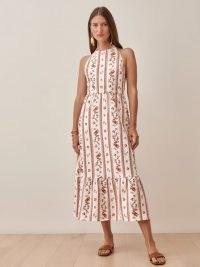 REFORMATION Enna Linen Dress in Vienna / floral halter neck tiered hem dresses / halterneck fashion