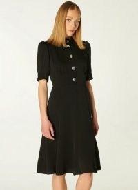 L.K. BENNETT ESME BLACK CREPE CRYSTAL BUTTON TEA DRESS ~ chic vintage style LBD