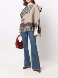 ETRO paisley-pattern fringed poncho / women's fringe hem ponchos