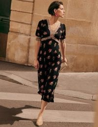 Boden Eva Jersey Midi Dress Black, Delicate Sprig / chic floral print empire line dresses / vintage inspired fashion