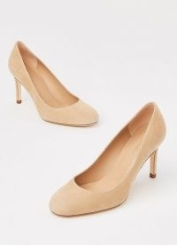 L.K. BENNETT FABLE NUDE SUEDE ROUND TOE COURTS ~ luxe court shoes