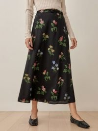 Reformation Falcon Skirt in Night Bloom – floral lightweight voile fabric skirts
