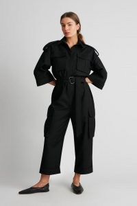 CAMILLA AND MARC Finley Jumpsuit in black ~ belted utility jumpsuits
