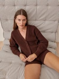 Reformation Fiore Short Set Chestnut / women's brown knitted shorts and cardigan loungewear sets / button down sweater lounge co ord / womens casual co ords