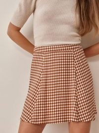 REFORMATION Flounce Skirt in Chestnut Check / brown checked skirts