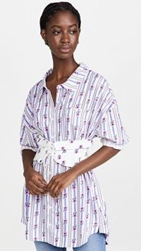 For Love & Lemons Dahlia Boyfriend Shirt / womens floral corset belt curved hem shirts