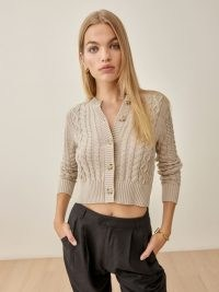 Reformation Foret Cable Knit Cardigan in Oatmeal | neutral cropped cardigans | womens fashionable knitwear | beautiful knits