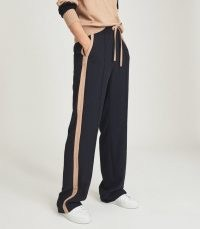 REISS FRAZER WIDE LEGS TROUSERS WITH SIDE STRIPE NAVY ~ women's chic jogger inspired trouser ~ womens stylish jogging bottoms ~ sportswear style fashion