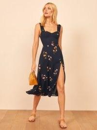 Reformation Fulton Dress in Princess Margaret – floral print front slit fitted bodice dresses