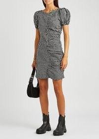 GANNI Gingham seersucker mini dress | checked puff sleeve dresses | check print ruched detail dresses | black and white checks