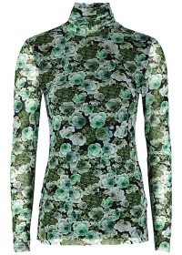 GANNI Green floral-print stretch-tulle top / long sleeve, high neck form fitting tops