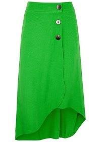GANNI Ripstop green midi skirt | asymmetric hemline skirts