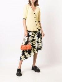 GANNI tie-dye asymmetric skirt black, yellow white / asymmetrical hemline skirts