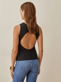 Reformation Gazala Top Black – sleeveless cut out back tops – large keyhole cutout detail fashion